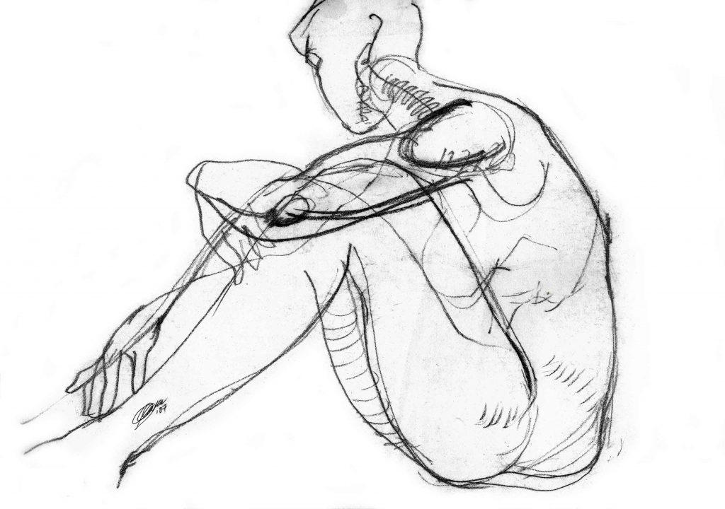 Женская обнаженная натура. Рисунок карандашом, выполнен пером на белой бумаге